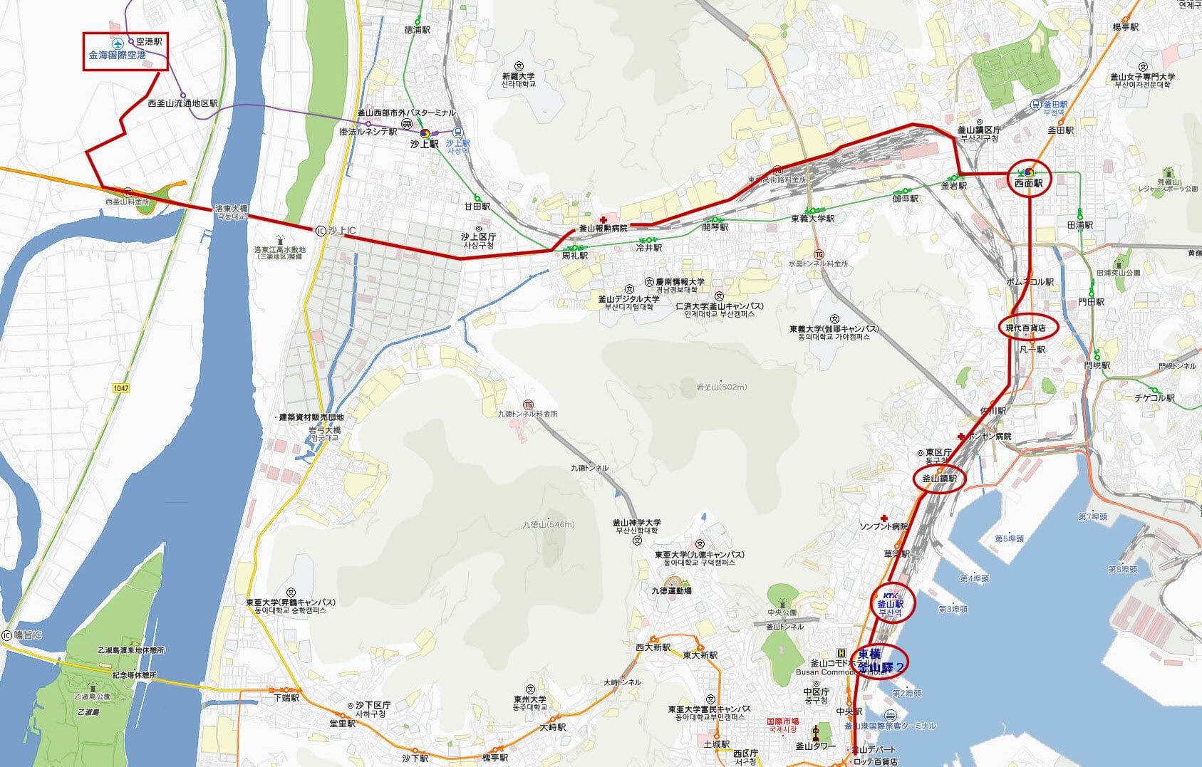 釜山金海國際機場往釜山驛站巴士路線圖