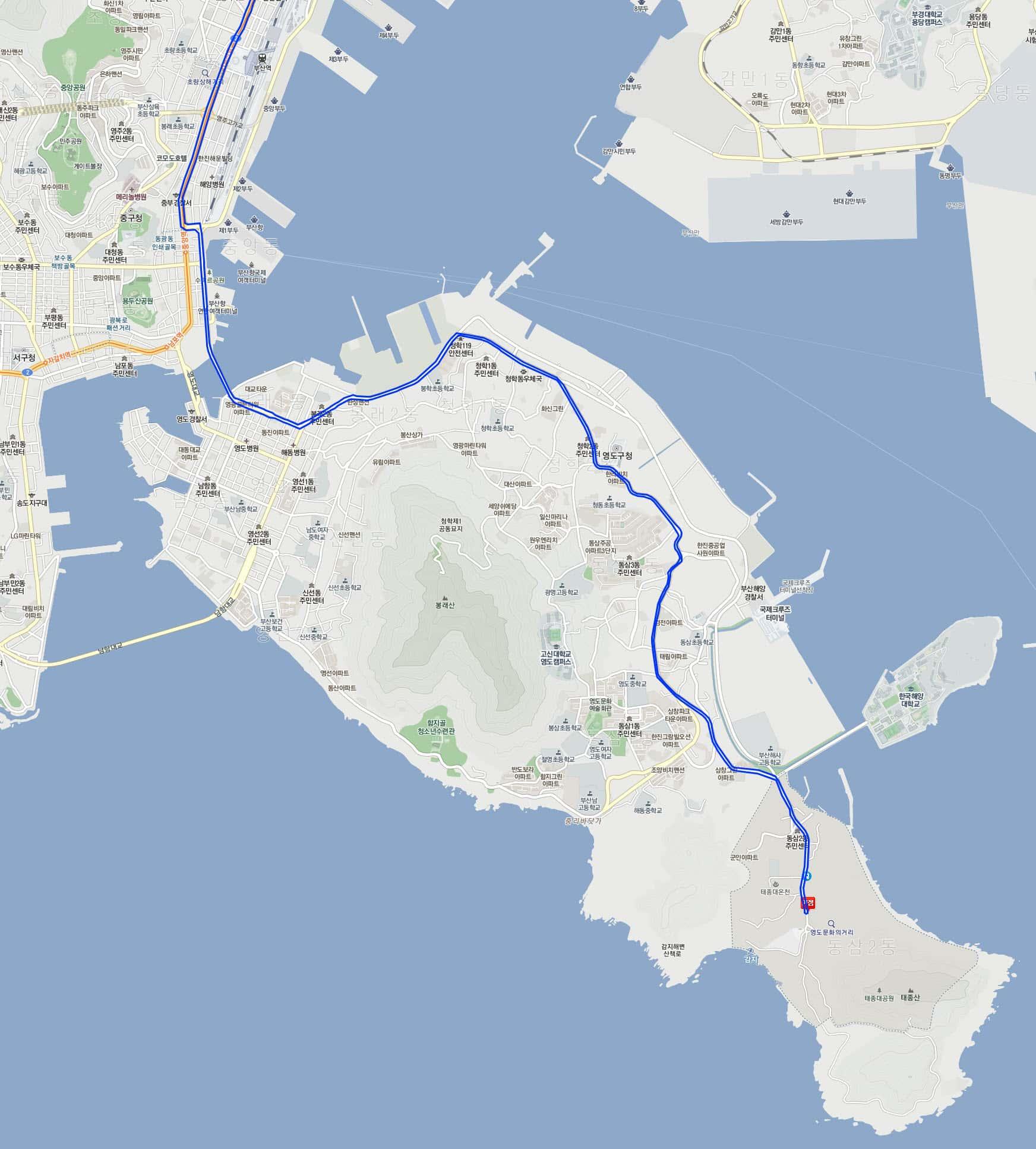 往太宗台101號巴士行駛路線圖