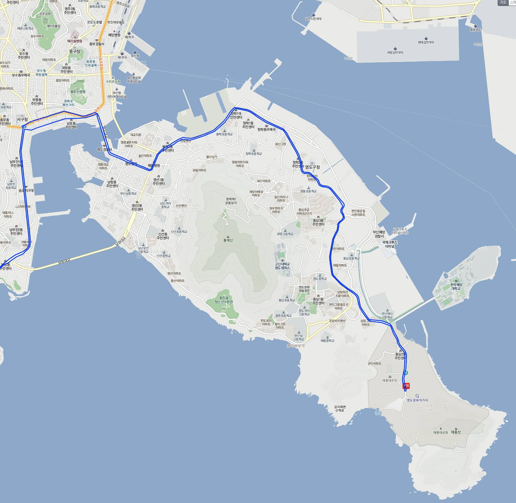 往太宗台30號巴士行駛路線圖