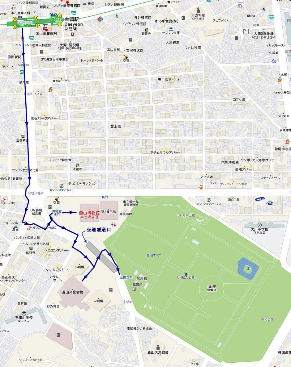 釜山博物館、釜山文化會館和 UN 紀念公園遊覽地圖