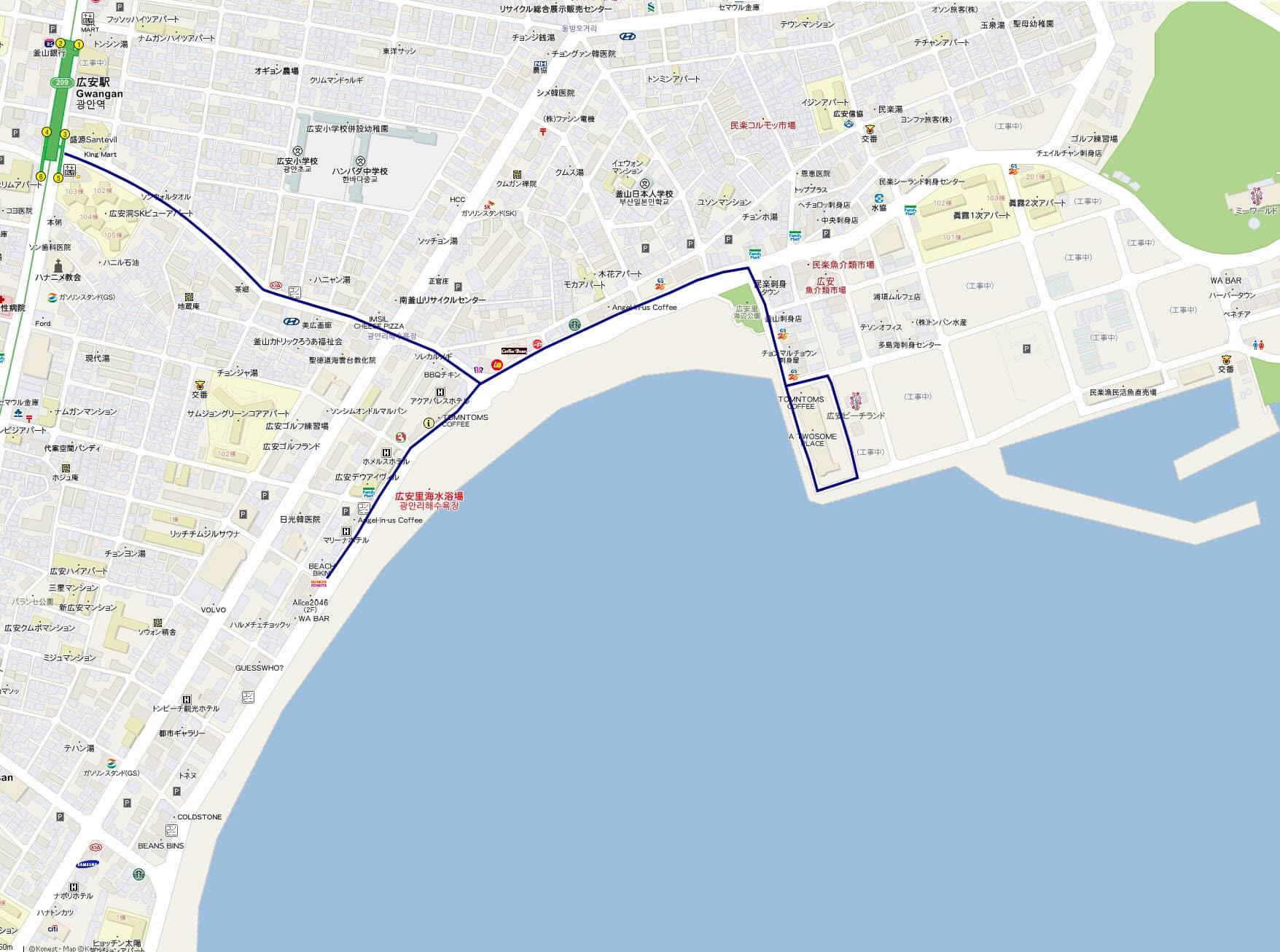 釜山廣安里海水浴場遊覽路線地圖
