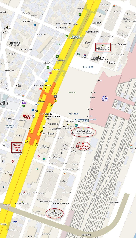 釜山驛附近一帶旅館分佈地圖