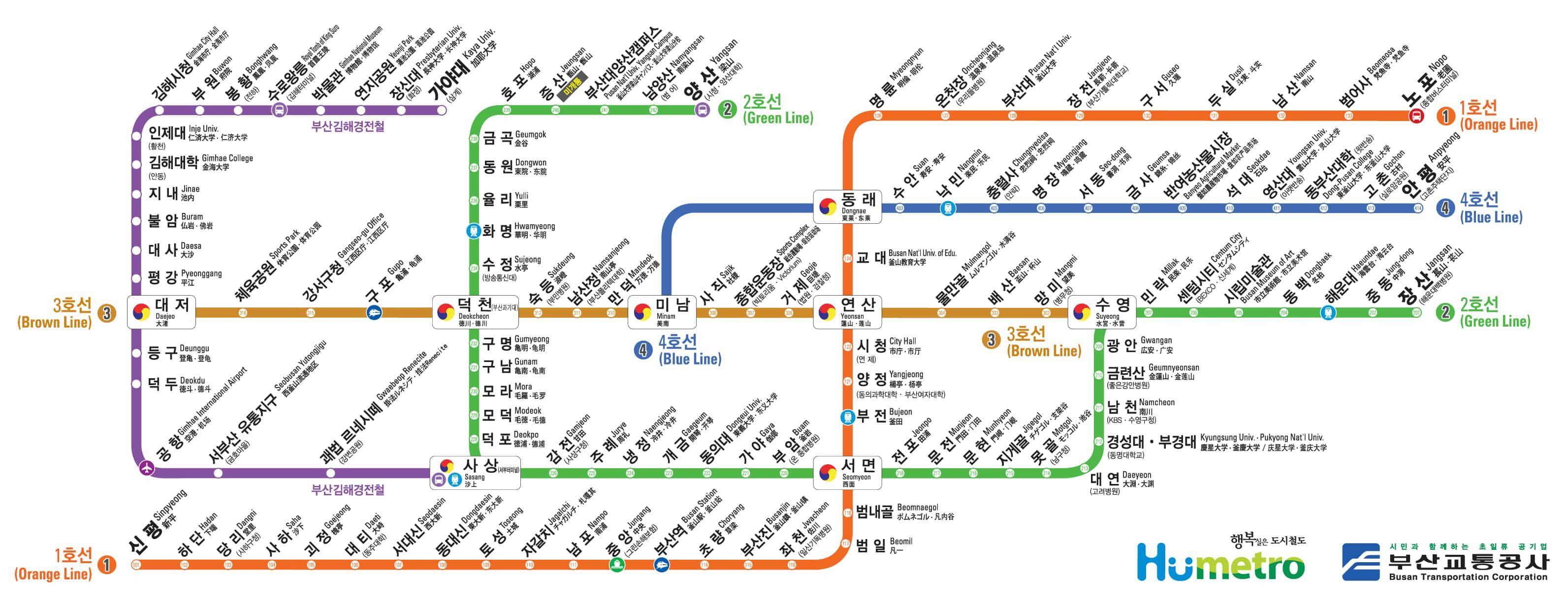 釜山地鐵圖 中文、英文、韓文)