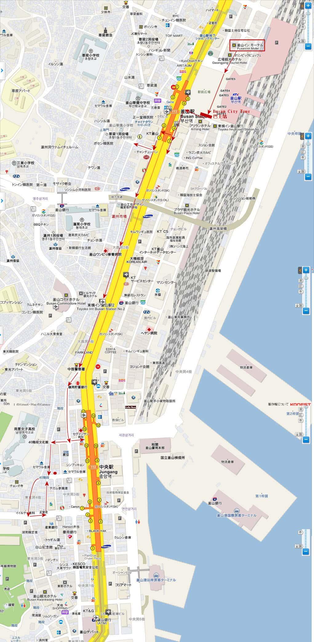 釜山驛步行往 四十階梯路線地圖
