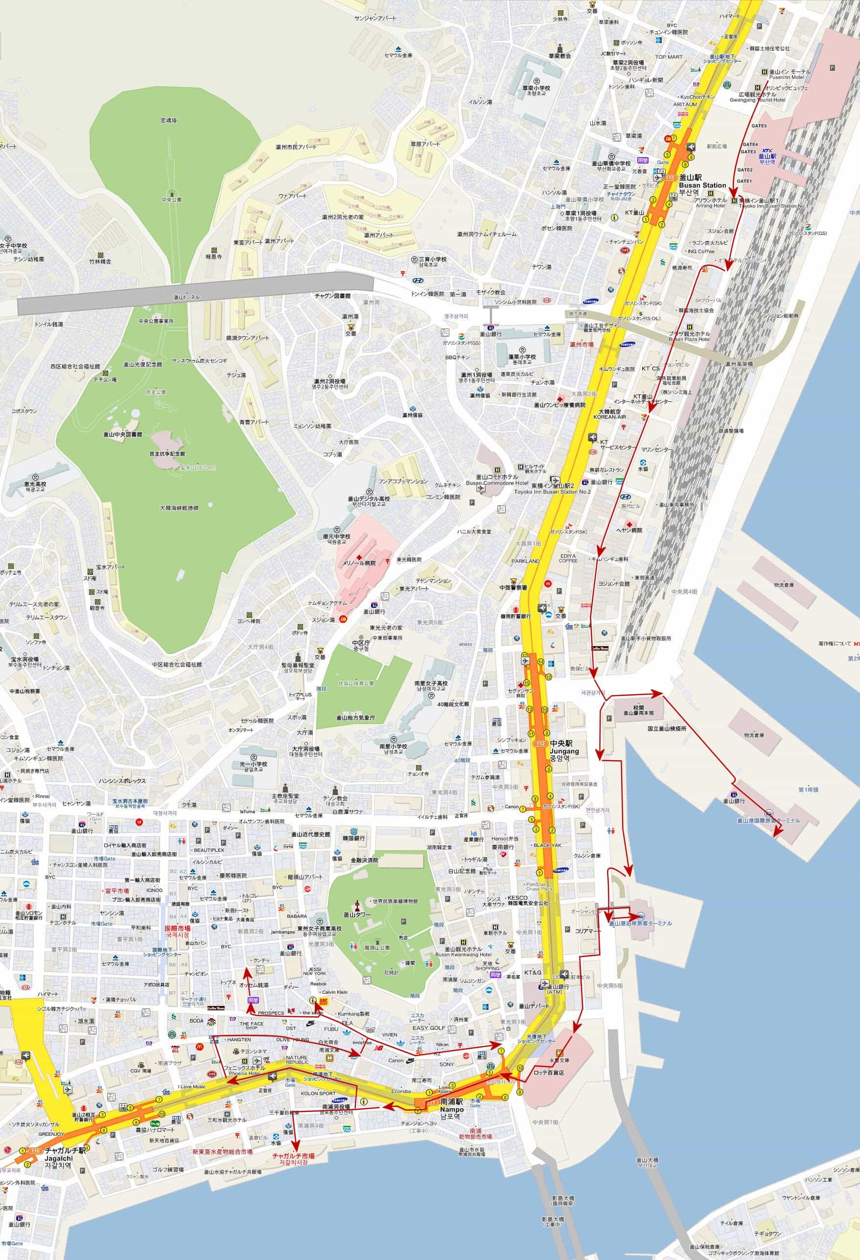 釜山驛步行往旅客碼頭、札嘎其市場、南浦洞路線圖
