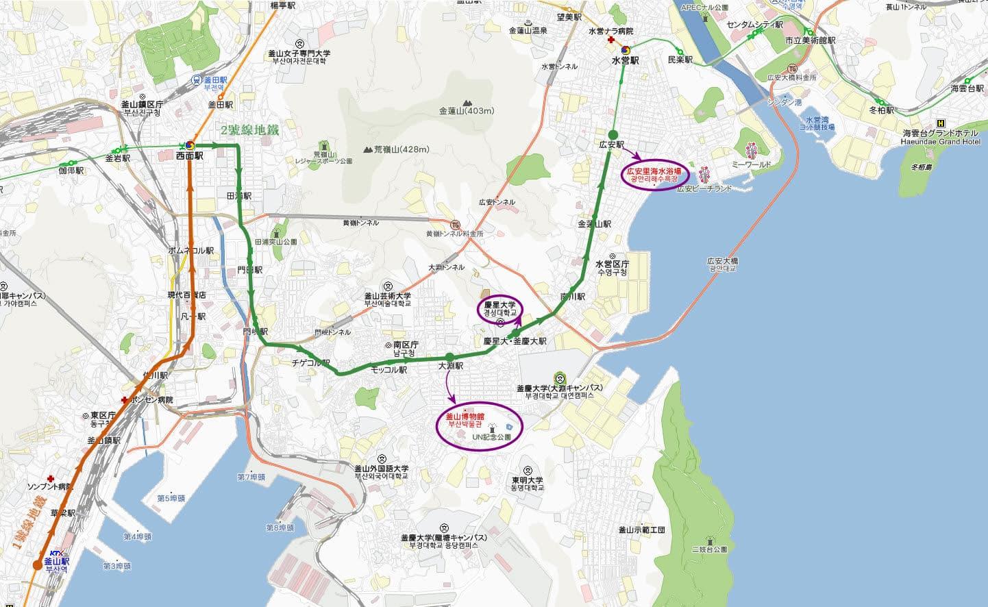 釜山慶星大學、釜山博物館、UN 紀念公園、廣安里海水浴場地圖