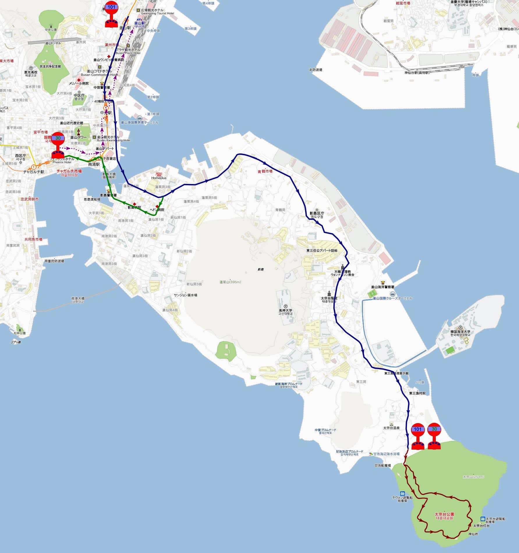 釜山太宗臺遊園地、南浦洞遊覽路線地圖