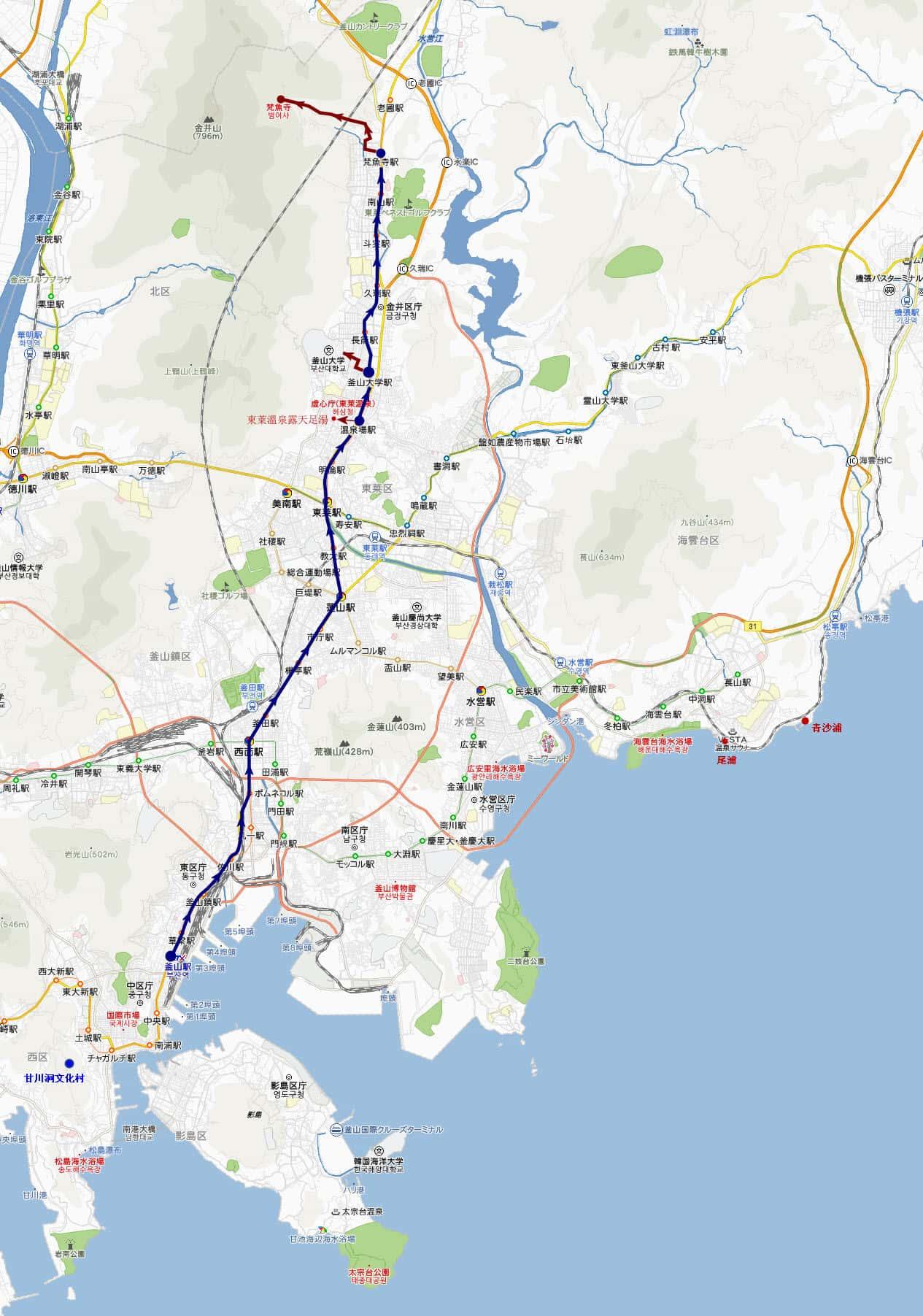 釜山梵魚寺、釜山大學、溫泉川、東萊溫泉露天足湯遊覽地圖