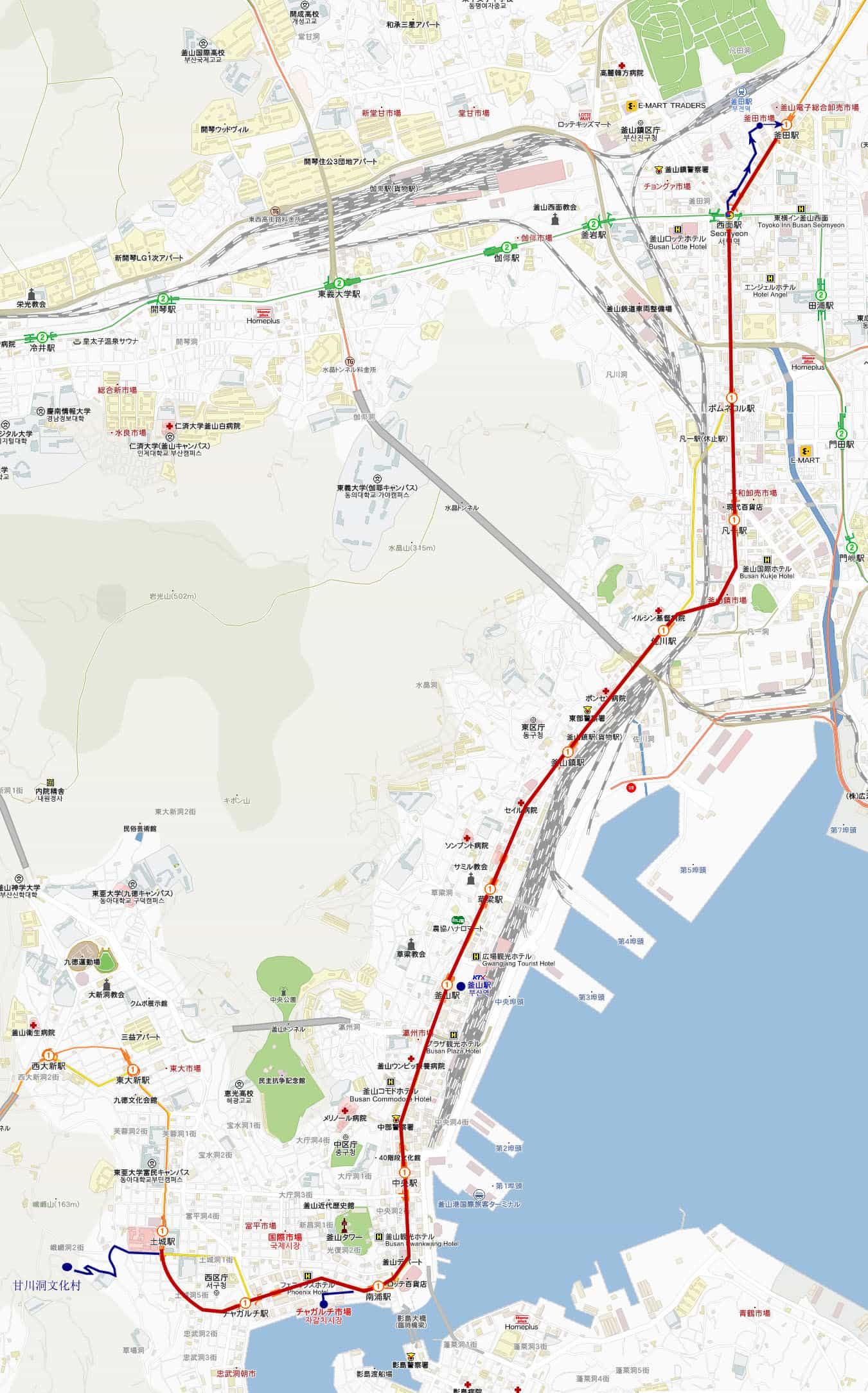 釜山甘川洞文化村、四十階梯文化館、釜田人蔘批發市場行程路線地圖
