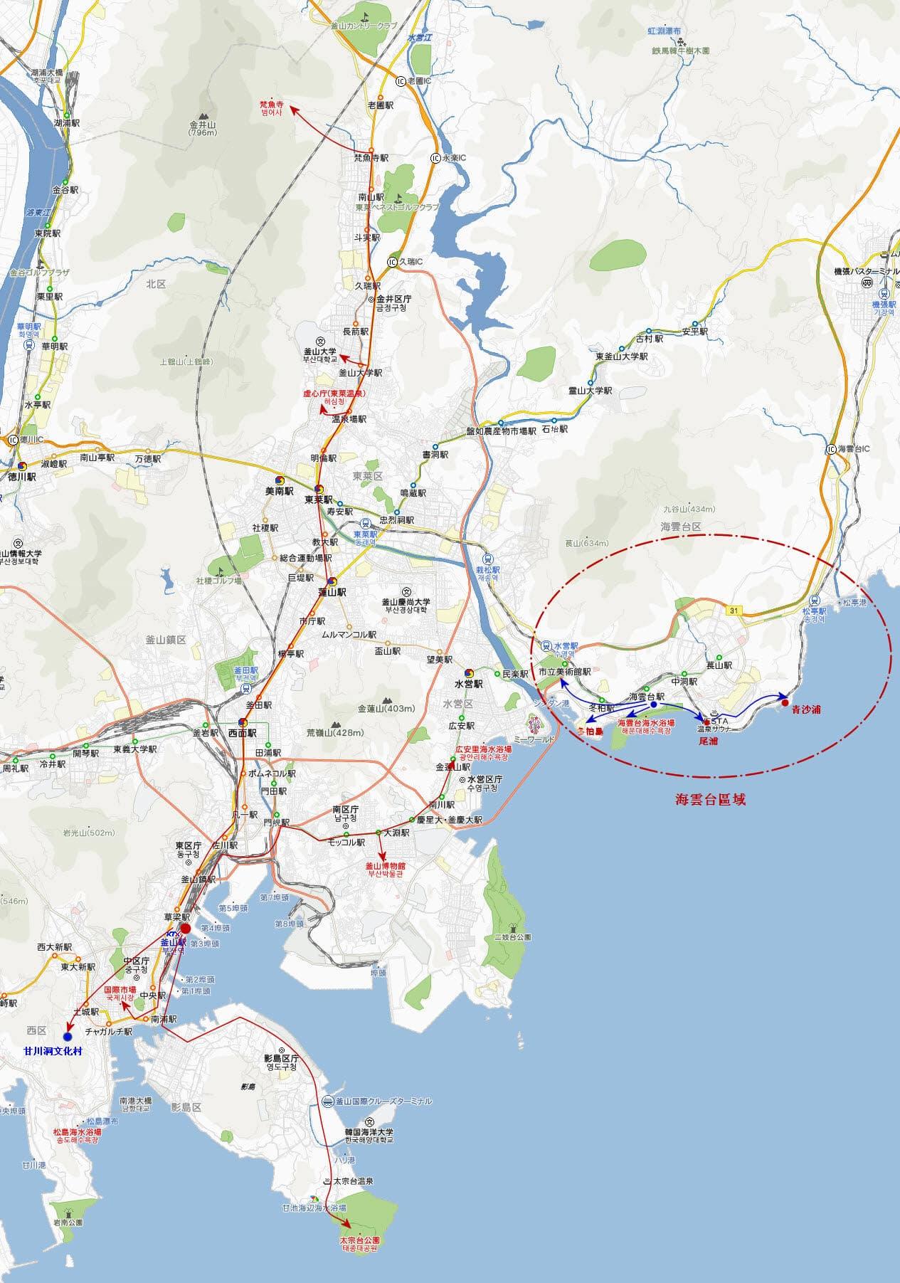 釜山景點分佈及旅遊行程安排
