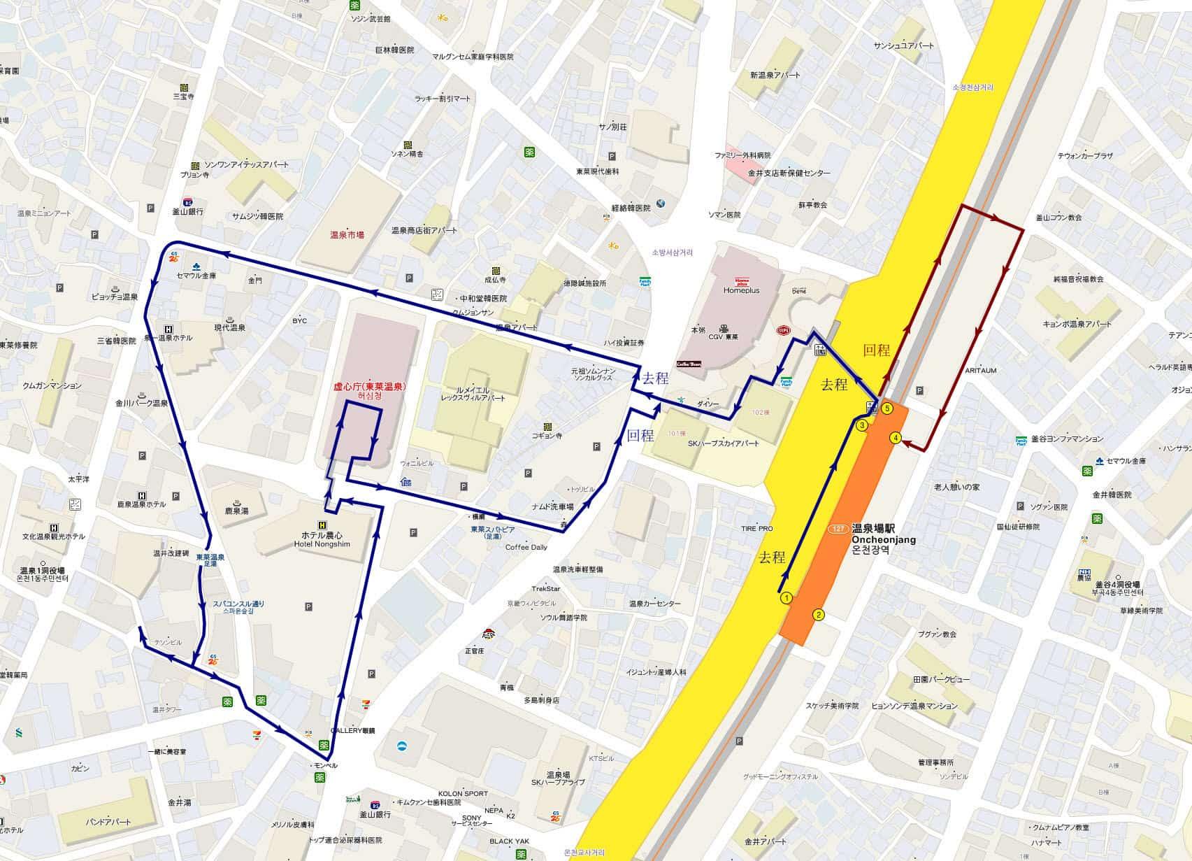 釜山東萊溫泉露天足湯步行路線地圖