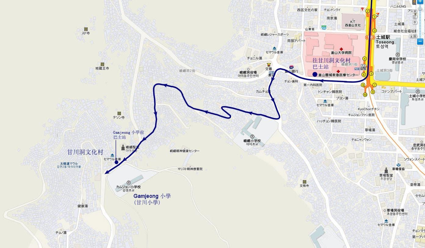 土城站往甘川洞文化村2號巴士行駛路線圖