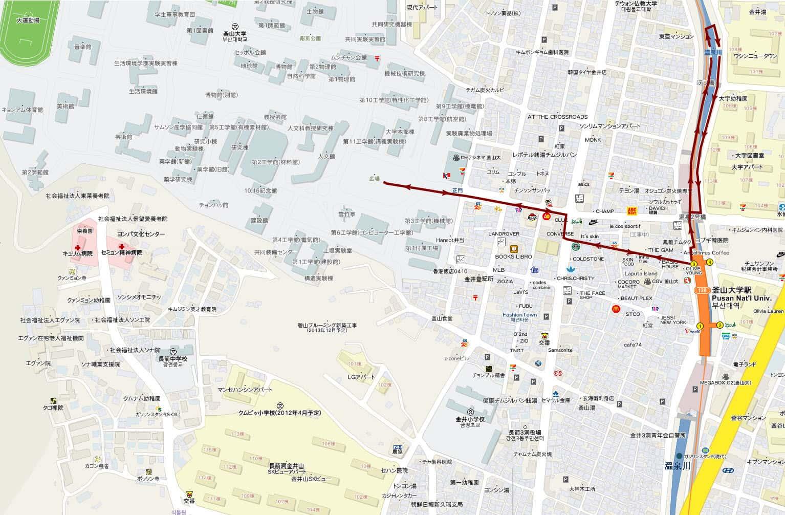 釜山大學、溫泉川遊覽路線地圖