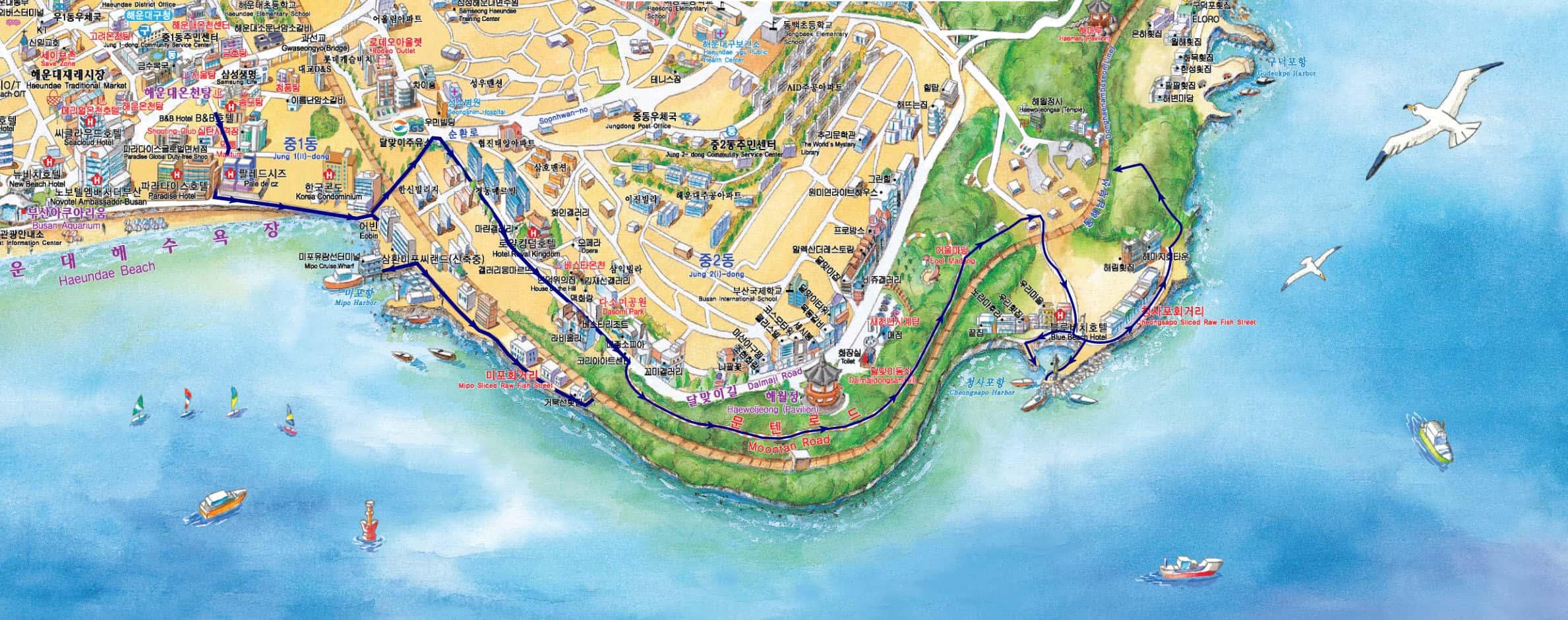海雲台海水浴場步行往青沙浦港路線地圖