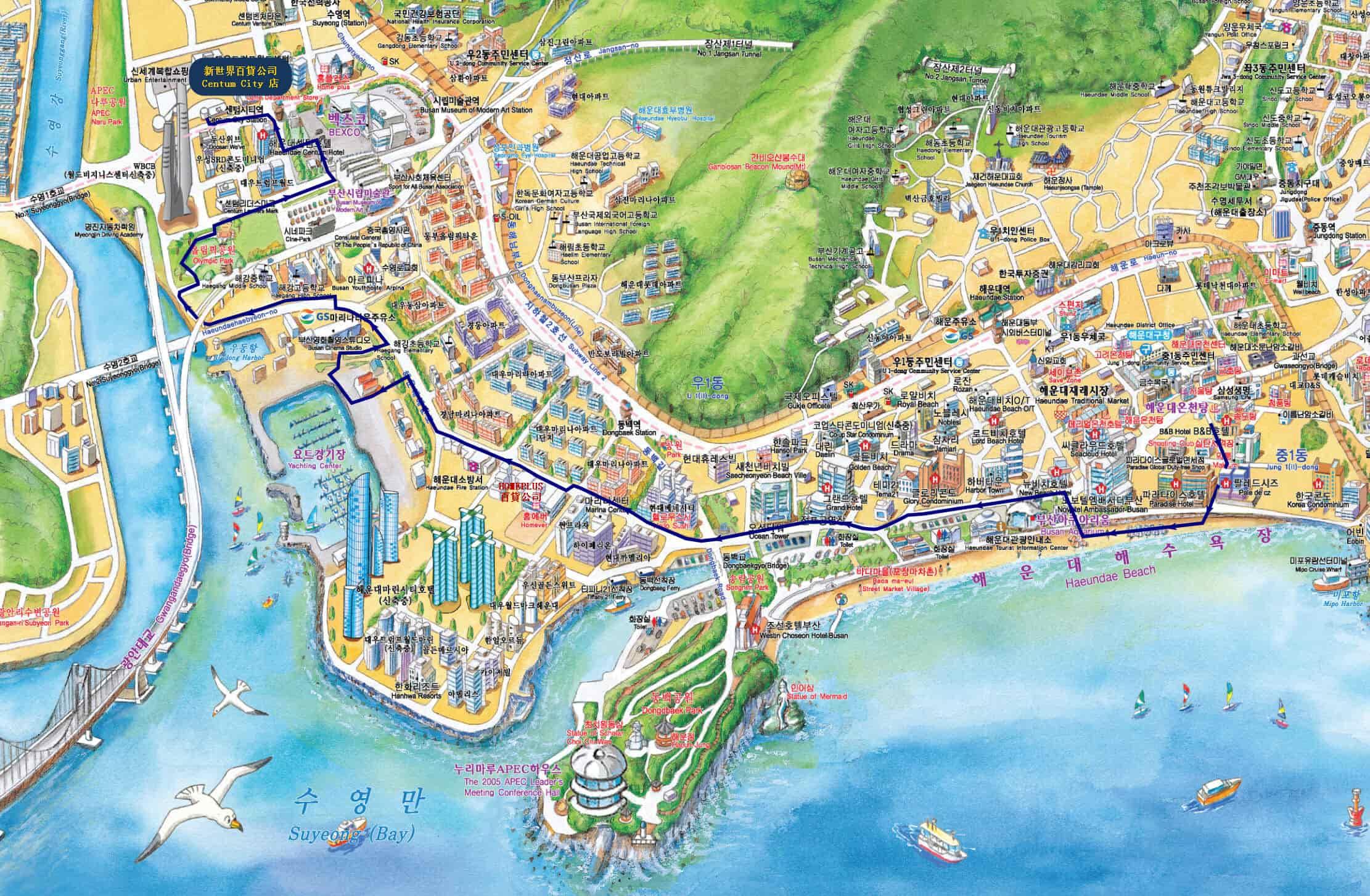 海雲台海浴場往新世界百貨公司 Centum City 店步行路線地圖