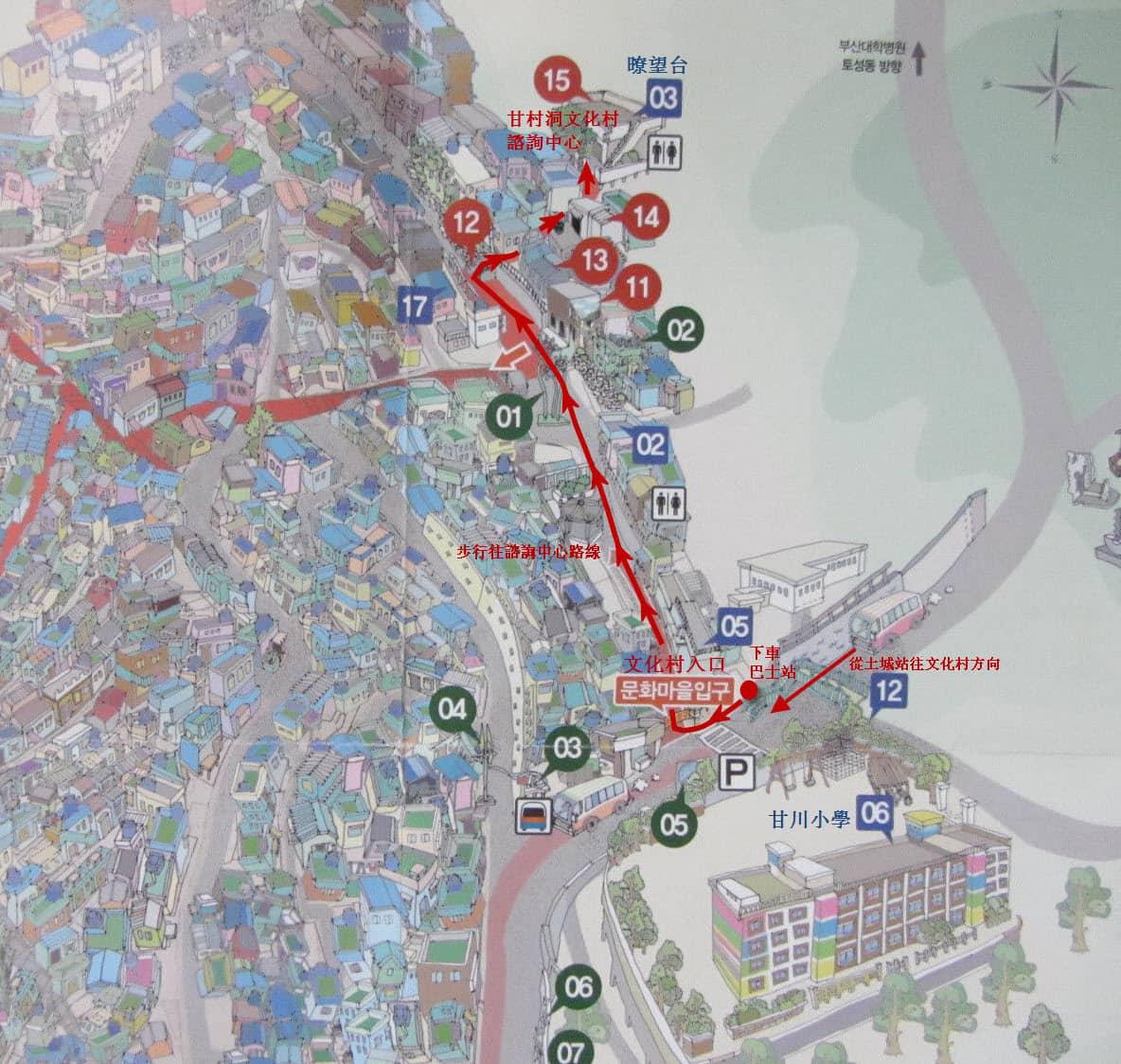 甘村洞文化村步行路線
