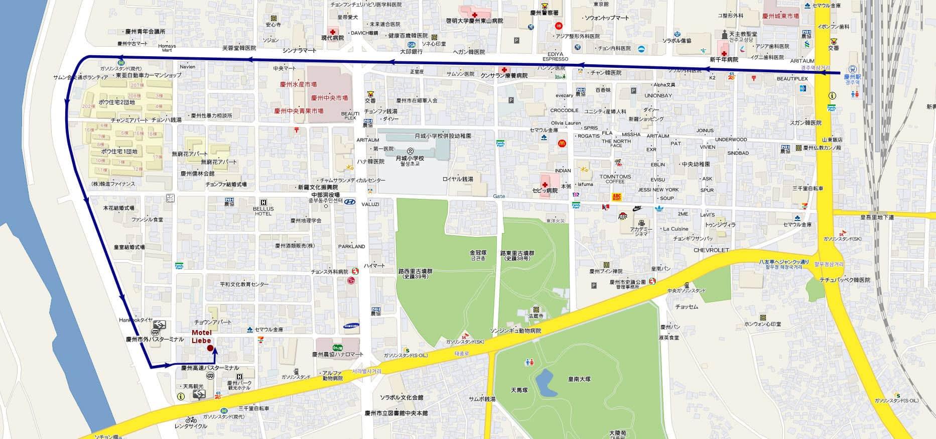 慶州火車站步行往 Motel Liebe 路線地圖