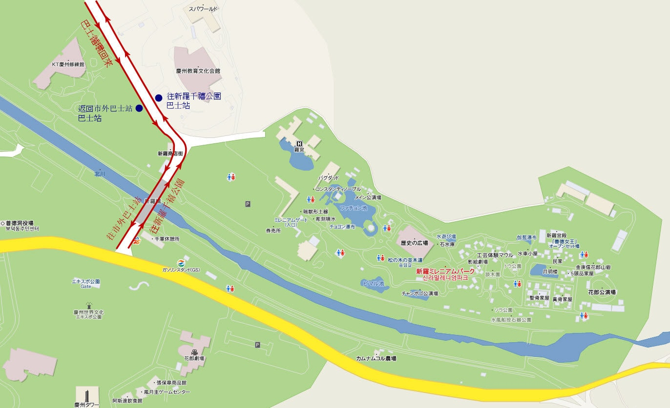 新羅千禧公園巴士站下車處地圖