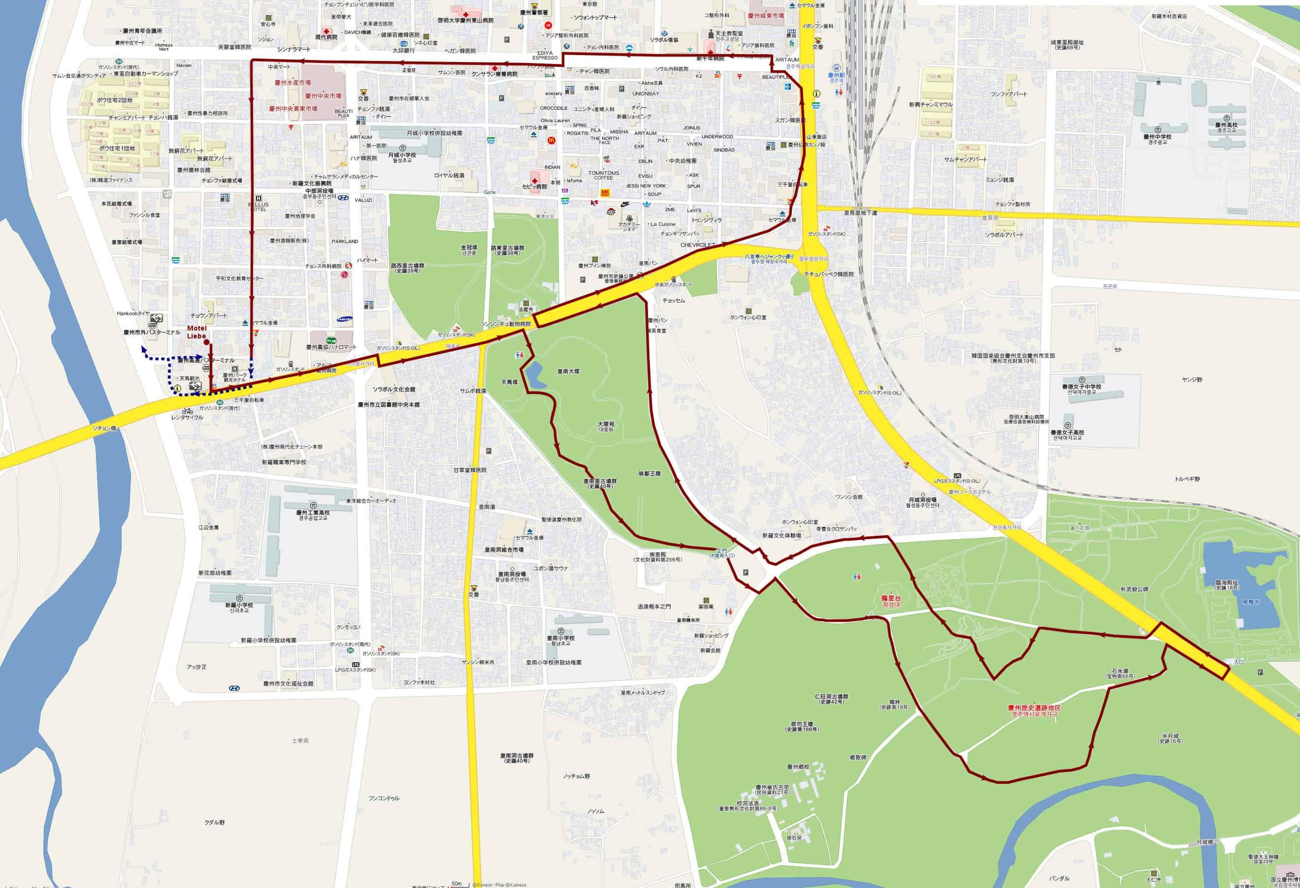 慶州大陵苑、瞻星台、雞林、半月城、石冰庫、雁鴨池旅遊步行路線地圖