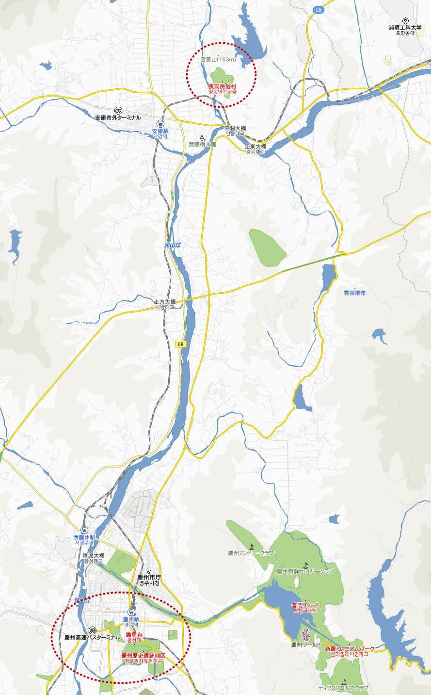 良洞民俗村距離慶州市位置地圖