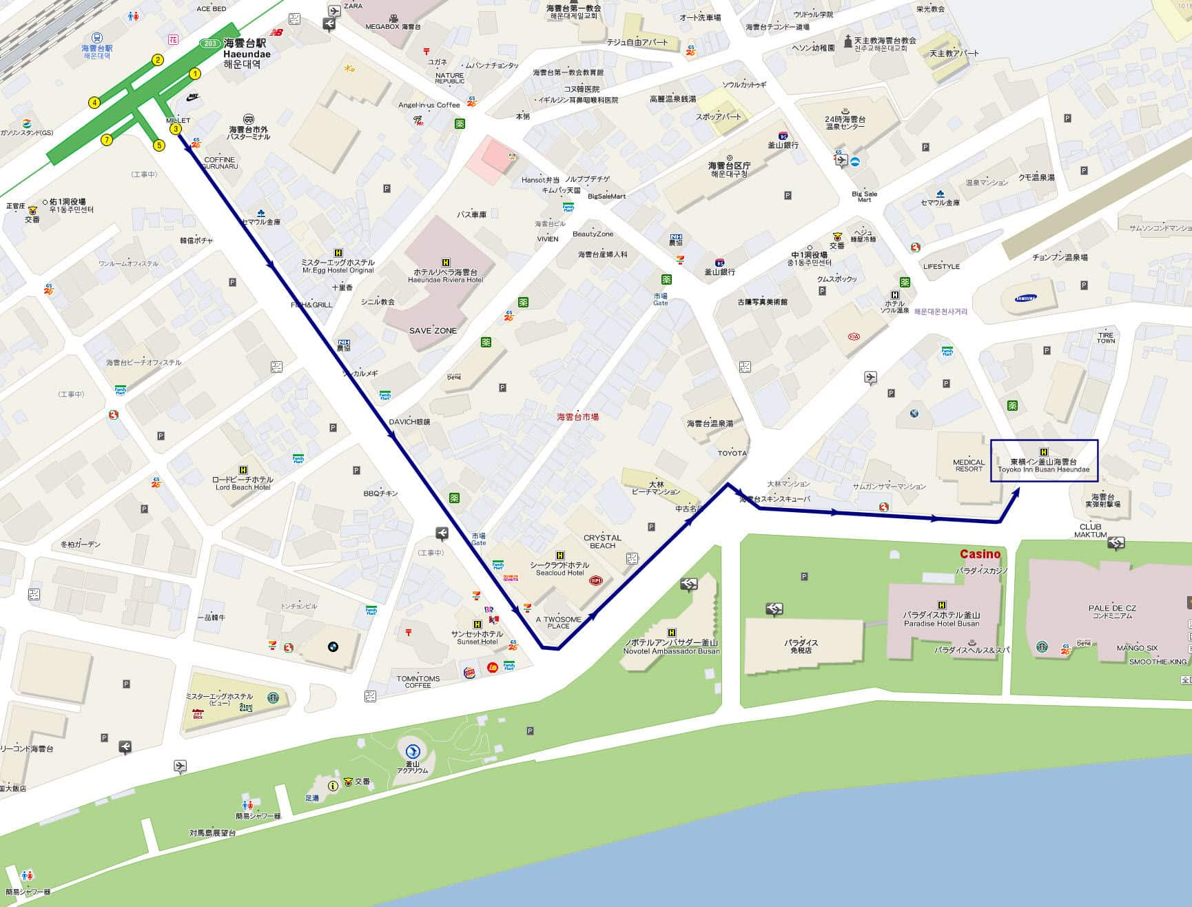 釜山海雲台地鐵站步行往東橫 INN路線地圖
