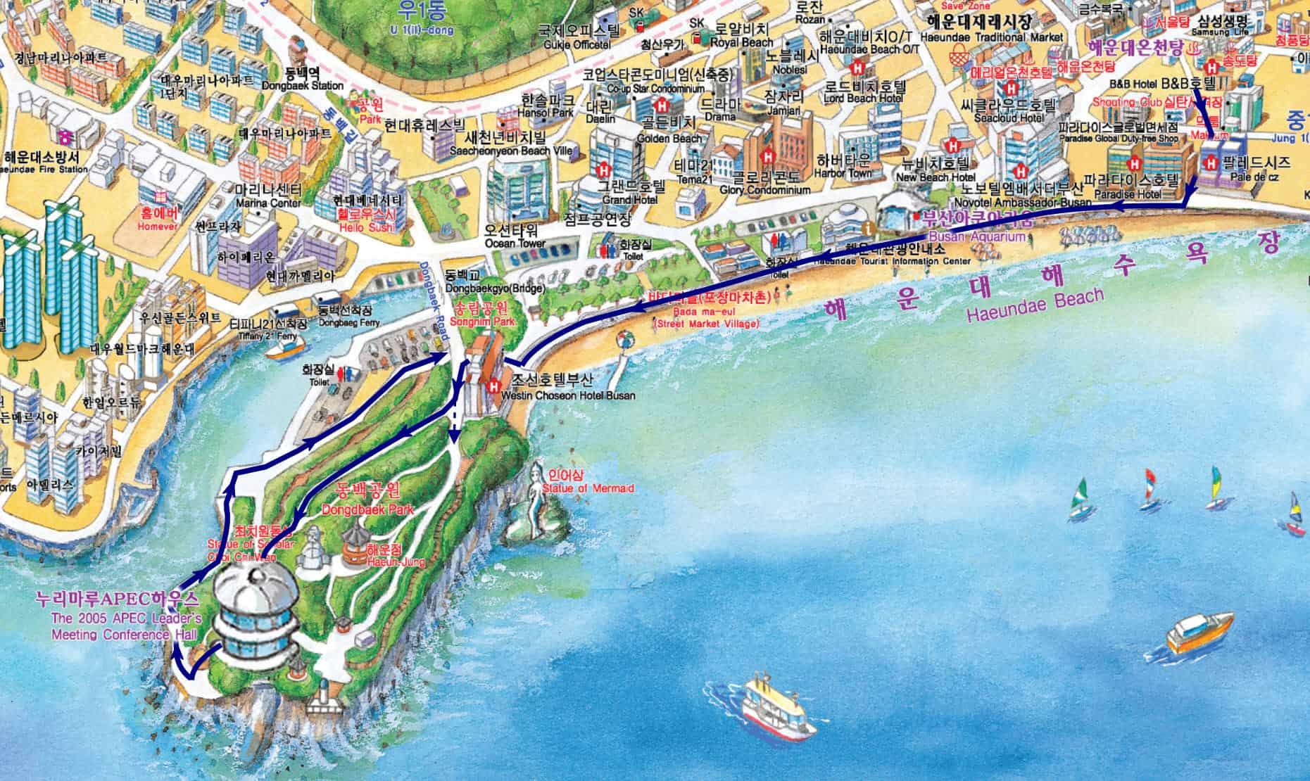 釜山冬栢島步行路線地圖