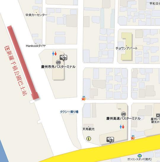 往慶州新羅千禧公園巴士站位置地圖