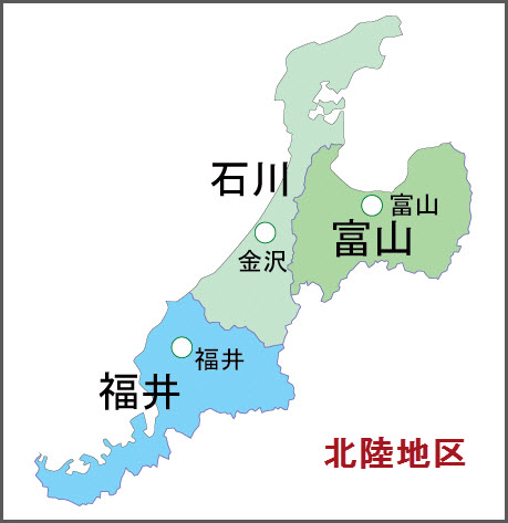 日本北陸地區地圖