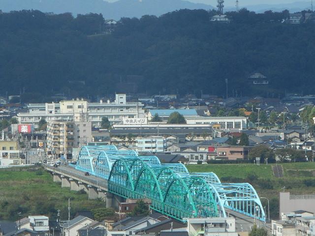 富山市役所展望塔 眺望富山市、神通大橋
