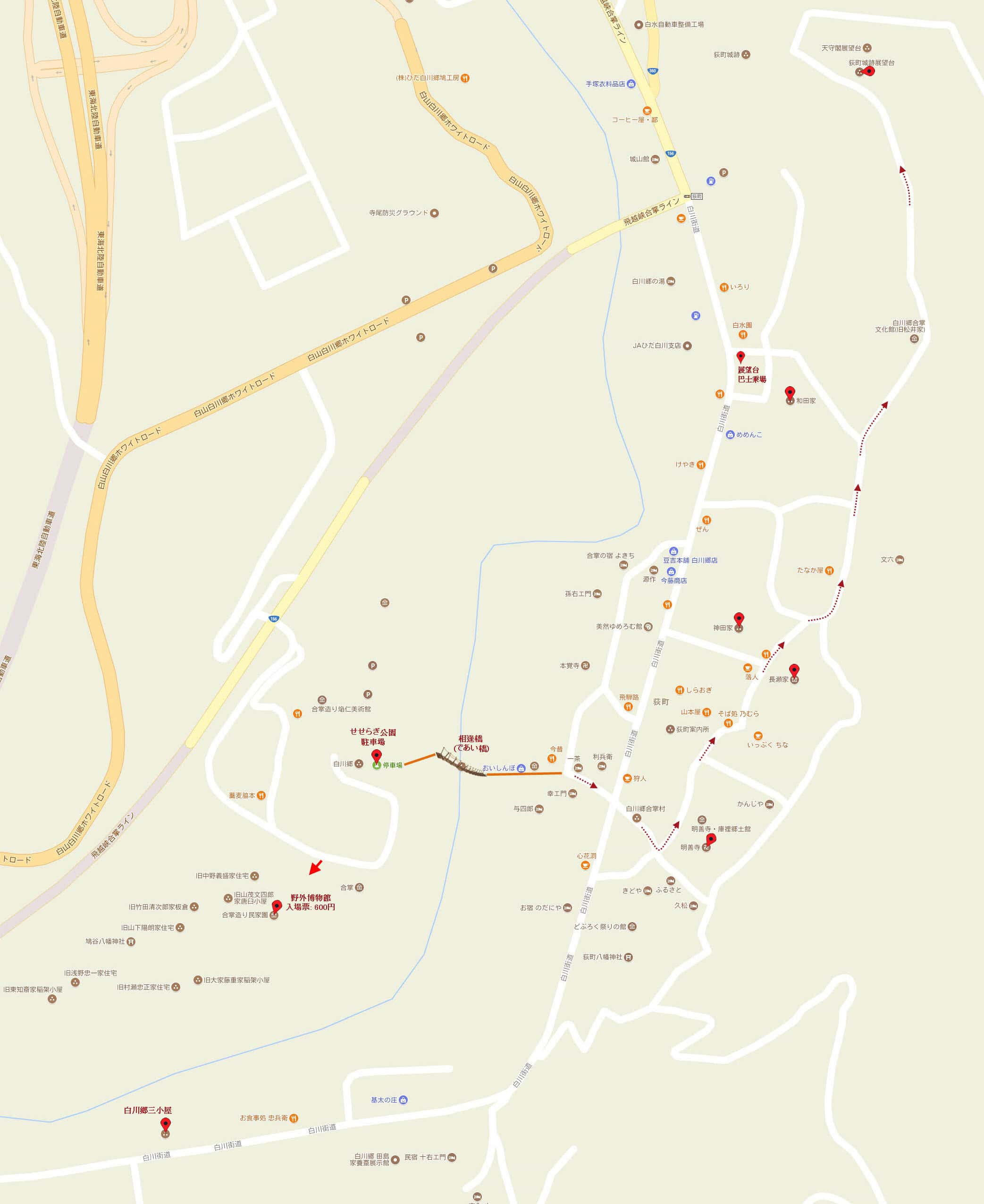 荻町白川郷合掌村遊覽地圖
