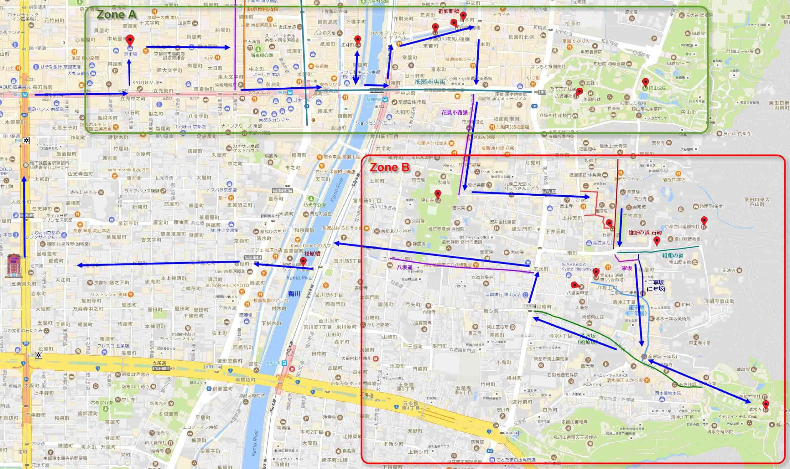日本京都一天散步路線圖
