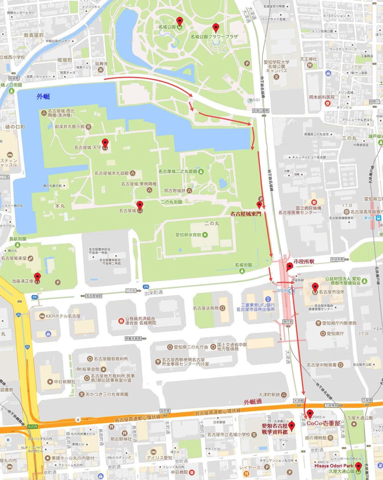 名古屋名城公園步行往久屋大通公園地圖