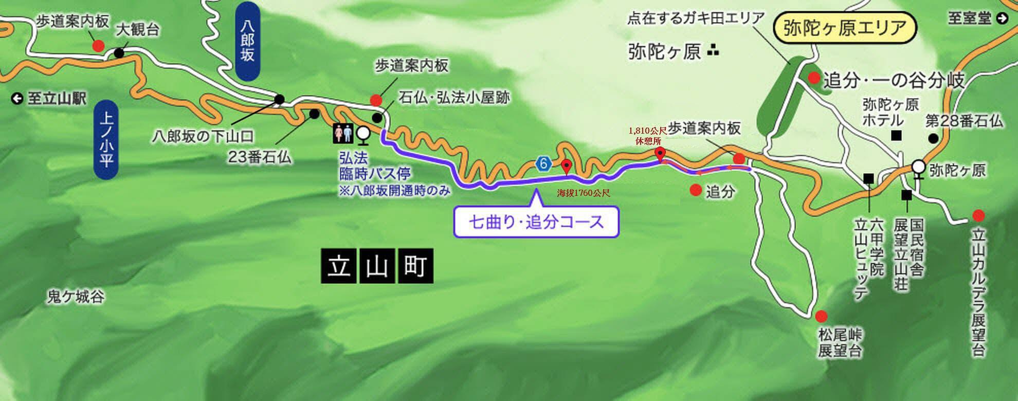 立山追分徒步至七曲路線圖