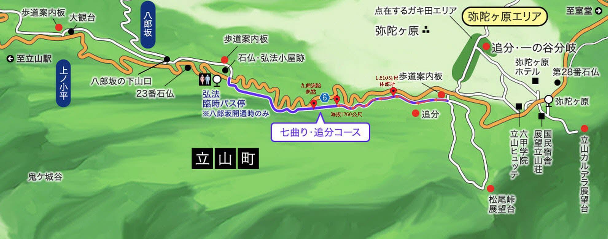 立山 弘法・追分コース 健行道