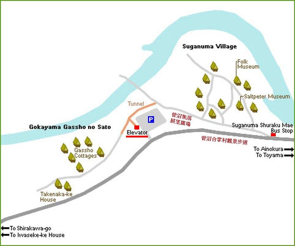 五箇山菅沼合掌村電梯位置地圖