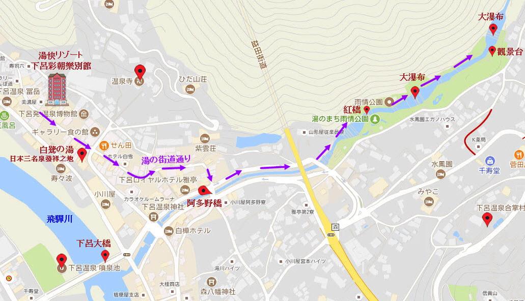 湯快リゾート 下呂彩朝樂別館步行往雨情公園路線地圖