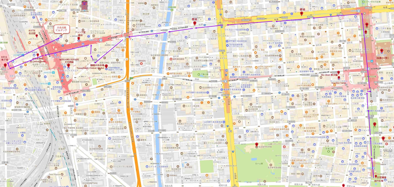 久屋大通公園步行往名古屋駅地圖