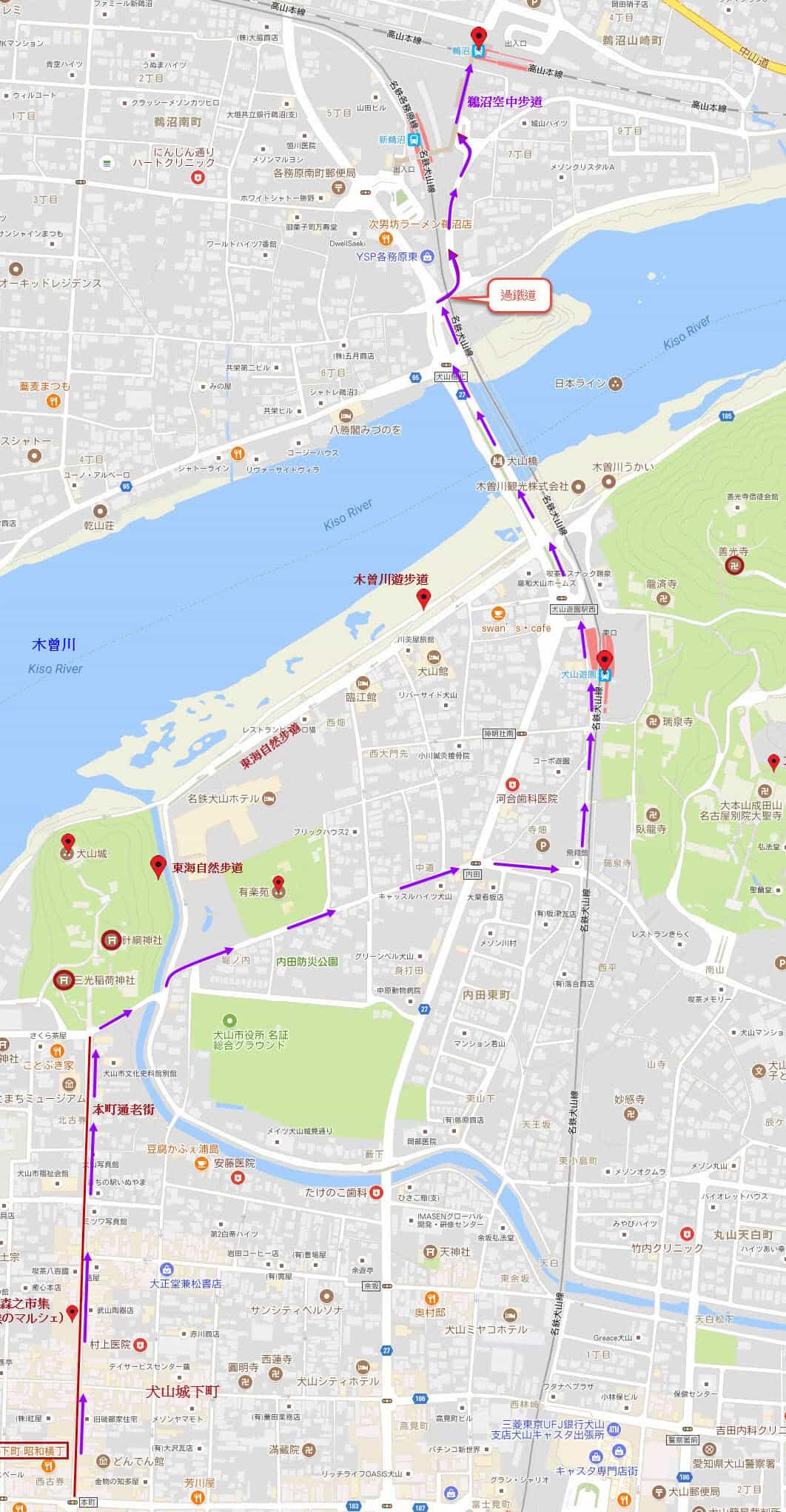 犬山城老街昭和橫丁步行往 JR 鵜沼駅路線圖