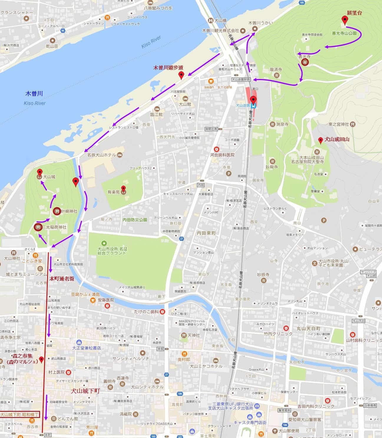 犬山善光寺山公園山頂展望台步行往犬山城路線圖