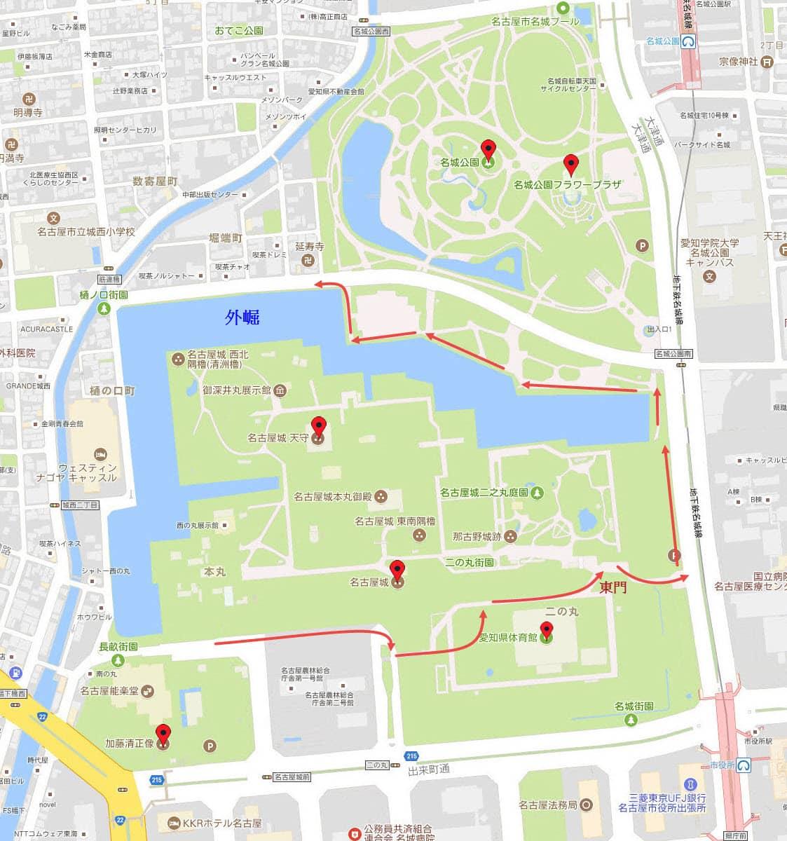 名古屋城、外崛、名城公園地圖