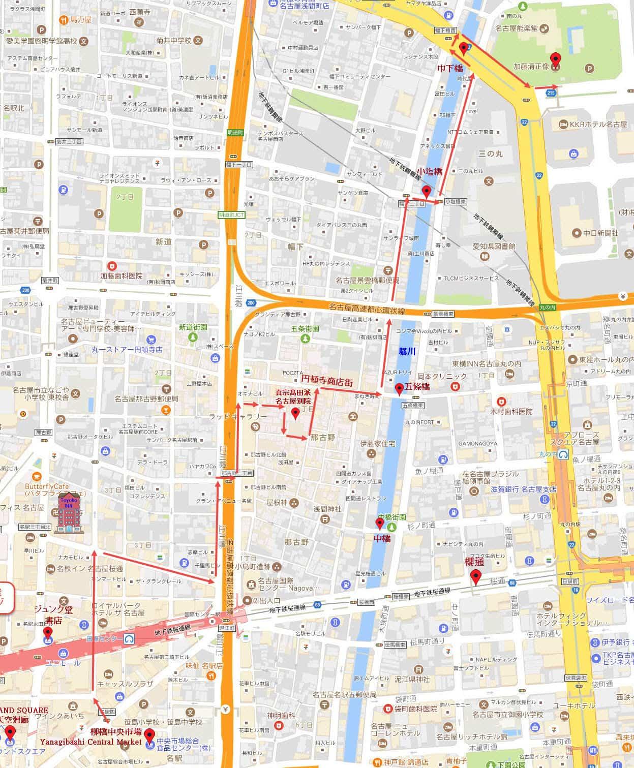 名古屋驛前柳橋中央市場步行往名古屋城地圖