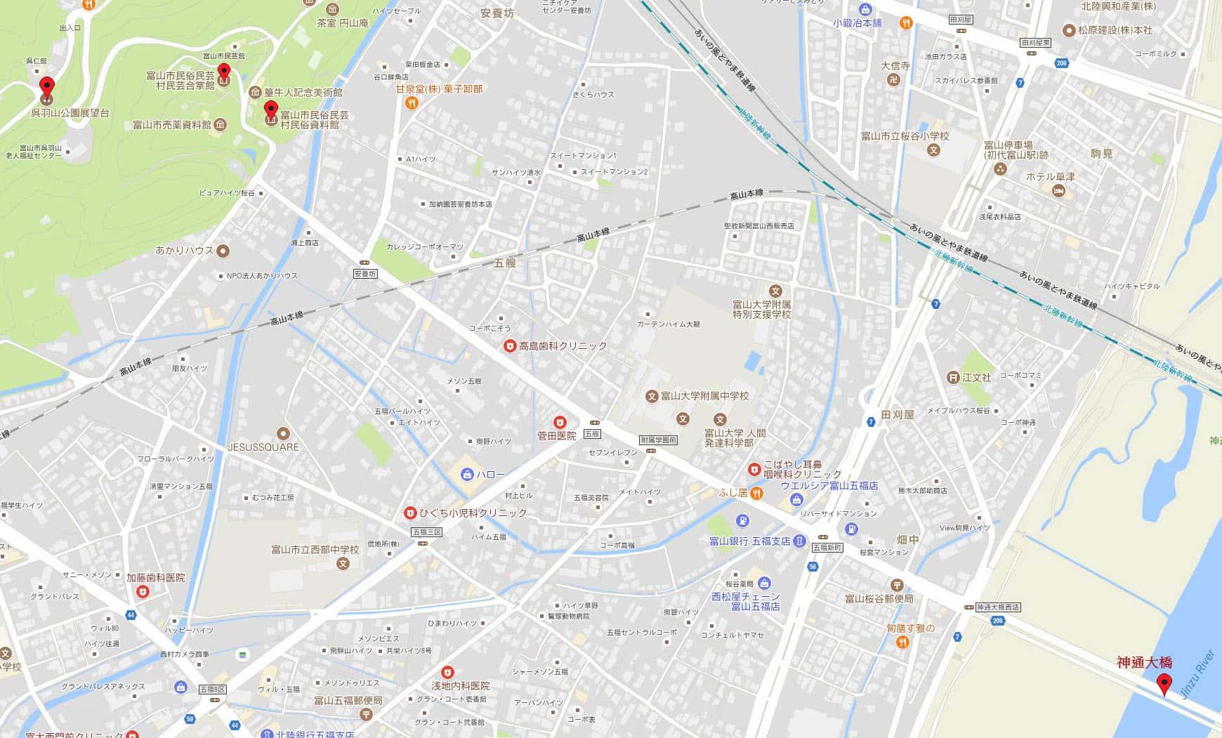 富山市民俗資料館、富山市民芸合掌館、呉羽山公園展望台地圖
