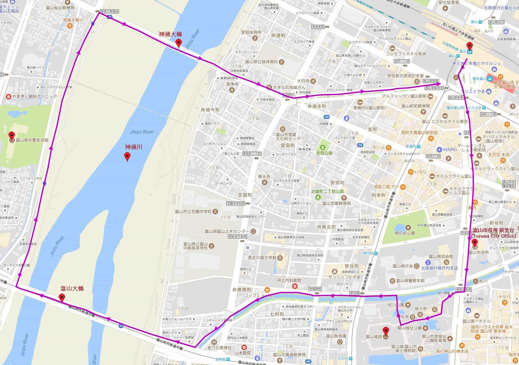 富山市步行路線地圖