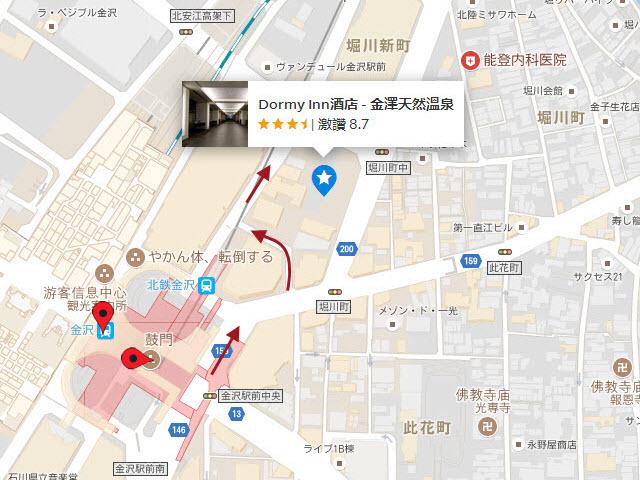 金澤 Dormy INN 地圖