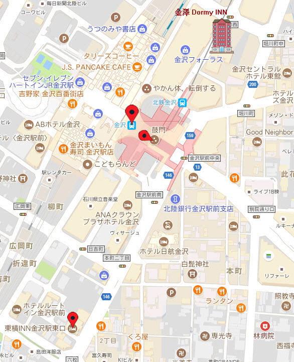 金澤東橫 INN 地圖