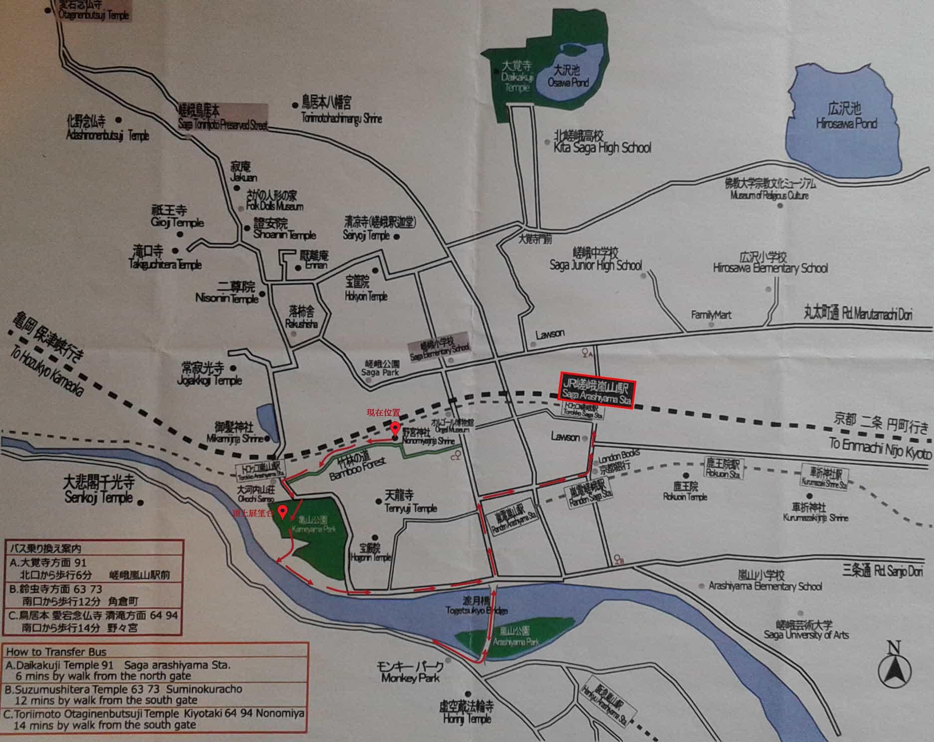 京都嵐山遊覽路線圖
