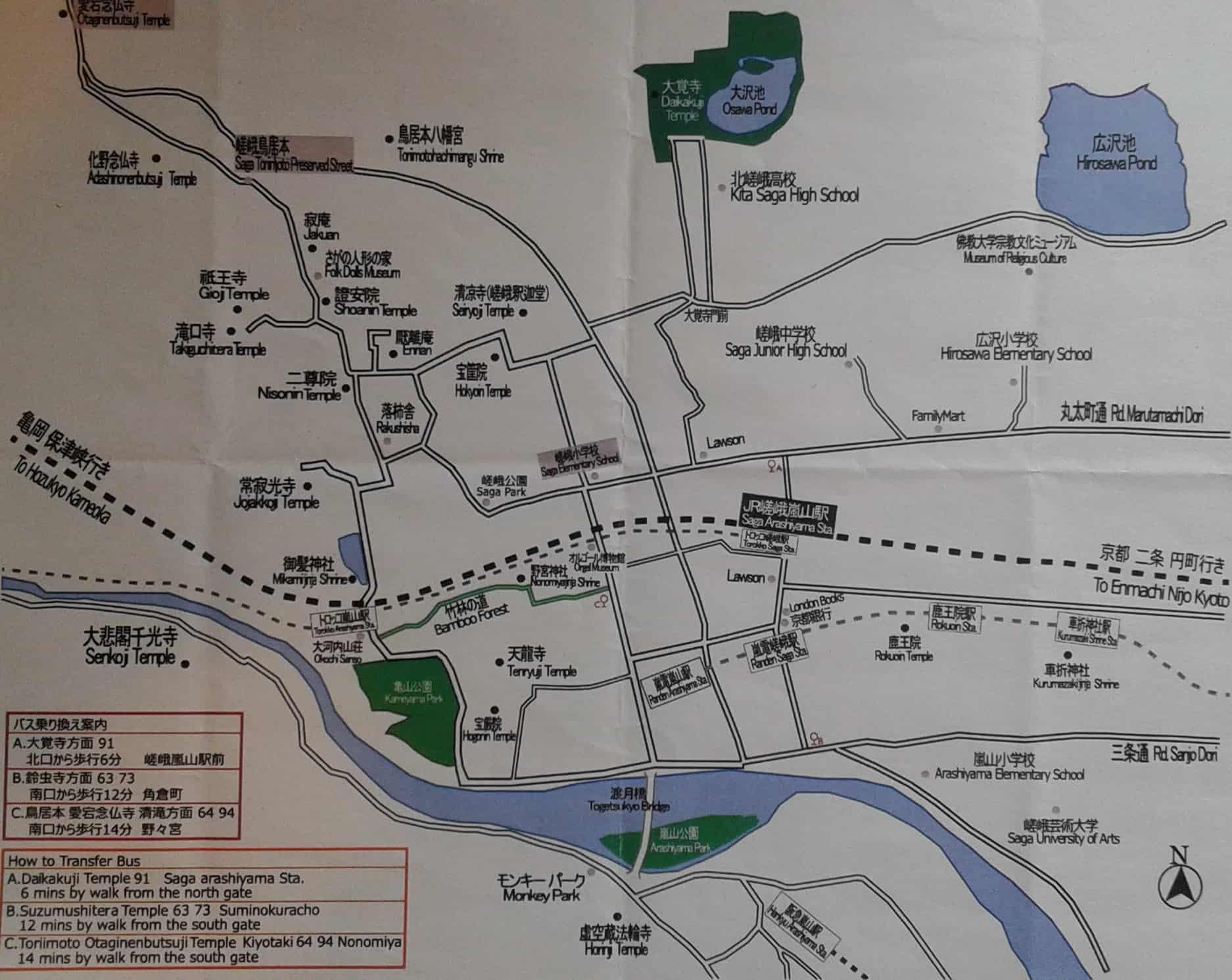 京都嵐山遊覽地圖