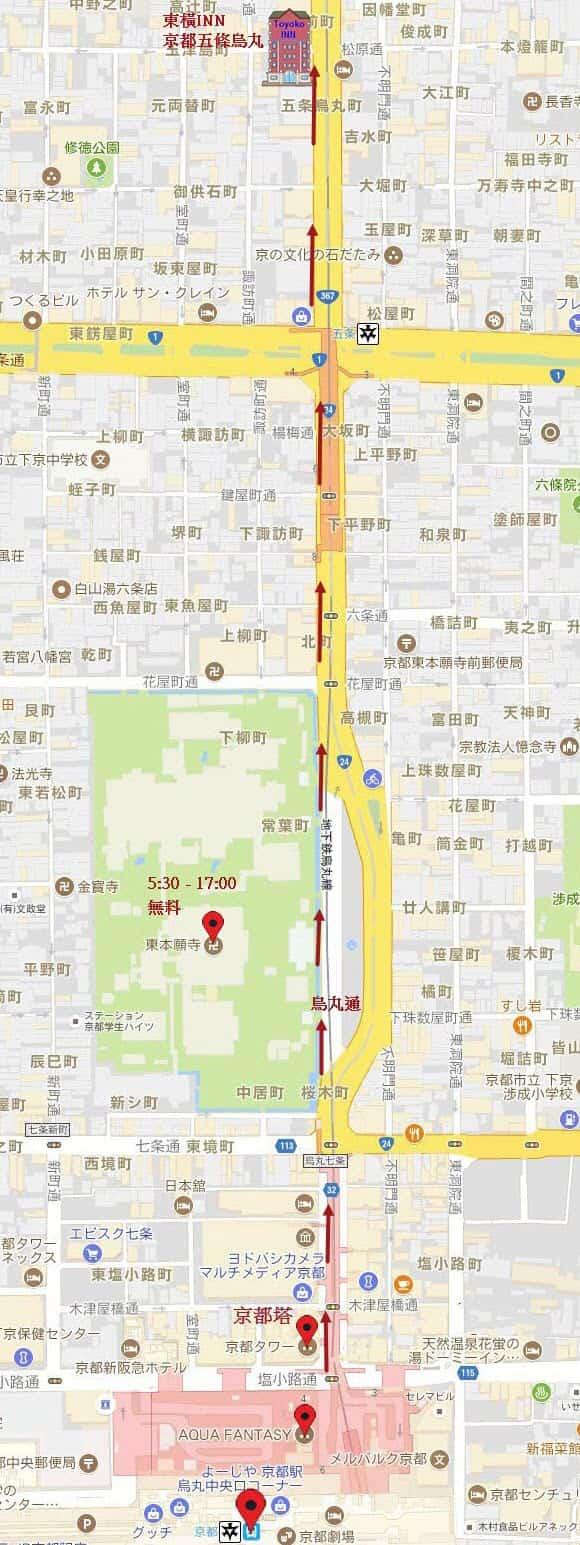 京都火車站步行往東橫INN 京都五條烏丸店路線圖