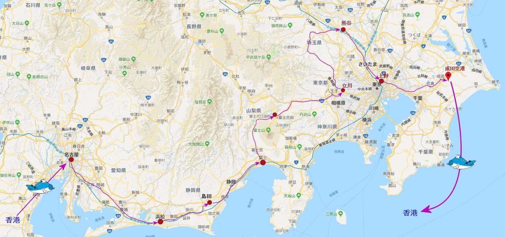 日本中部、關東(名古屋、浜松、島田、富士市、富士吉田市.竜ケ丘、立川、熊谷、東京)自助旅遊路線圖
