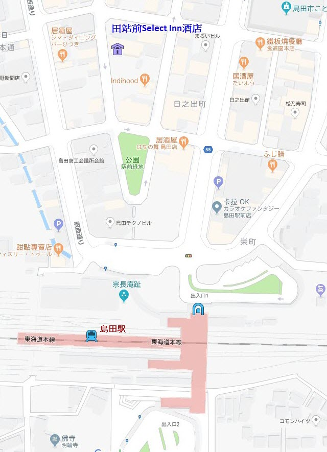 島田站前Select Inn 酒店地圖